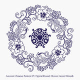 Ancient Chinese Pattern of Spiral Round Flower Gourd Wreath Stock Photography