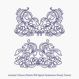Ancient Chinese Pattern of Spiral Symmetric Peony Flower. Can be used for both print and web page Royalty Free Stock Photo