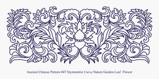 Ancient Chinese Pattern of Symmetric Curve Nature Garden Leaf Flower. Can be used for both print and web page Royalty Free Stock Photos