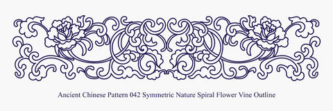 Ancient Chinese Pattern of Symmetric Nature Spiral Flower Vine O Royalty Free Stock Images
