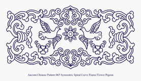 Ancient Chinese Pattern of Symmetric Spiral Curve Frame Flower Pigeon Stock Images