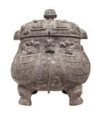 Ancient Chinese pot isolated. royalty free stock photo