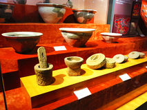 The ancient Chinese pottery, stone tools, life utensils Stock Images
