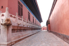 Ancient Chinese red wall Stock Photo