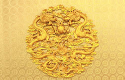 Ancient Chinese Relief with Two Dragons Stock Photography