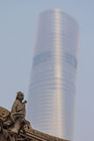 Ancient chinese sculpture and Shanghai Tower Royalty Free Stock Photo