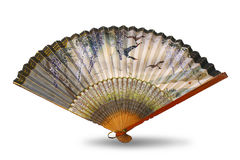 Ancient Chinese silk fan - isolated object on white Royalty Free Stock Photos