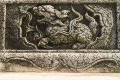 The ancient Chinese stone carving for Qilin Royalty Free Stock Images
