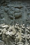 Ancient chinese stone relief .marble sculpture.carved trees, mountain,person. Ancient chinese stone relief .marble sculpture.carved trees, mountain,ancient stock photo