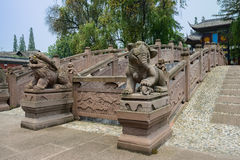 Ancient Chinese stone statues before bridges Royalty Free Stock Photo