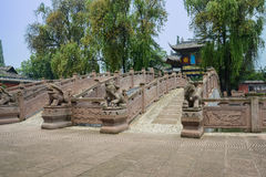Ancient Chinese stone statues and bridges in sunny summer Royalty Free Stock Photos