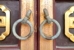 Ancient chinese style door handles. Stock Photography