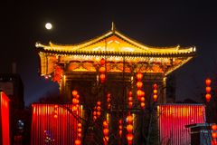 Ancient Chinese Temple Architecture Illuminated City Festival Ce Stock Photography