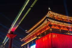 Ancient Chinese Temple Architecture Illuminated City Festival Ce Royalty Free Stock Photography