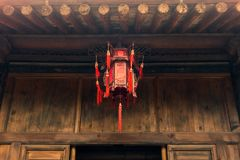 Ancient Chinese Temple Architecture Illuminated City Festival Ce Stock Image
