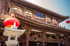 Ancient Chinese Temple Architecture Illuminated City Festival Ce Stock Photos