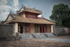 Ancient chinese temple in dusk stock photo