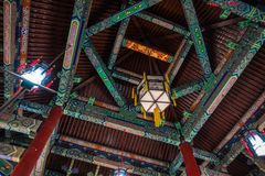 Ancient Chinese Temple Interior Wooden Walkways Ceiling Culture Stock Photo