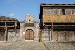 Ancient Chinese timber framed buildings at sunny winter noon. Anren town,Sichuan,China royalty free stock images