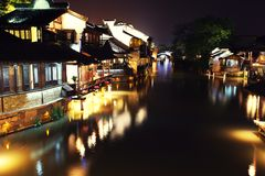 The ancient Chinese village in dusk Royalty Free Stock Photo