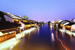 Ancient Chinese village in dusk Royalty Free Stock Image