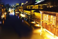 Ancient Chinese village at night Royalty Free Stock Photos