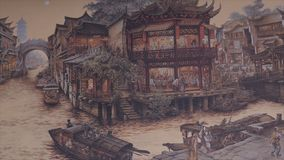 Ancient Chinese village. Picture of Ancient China. China Ancient Architecture In Bamboo Forest. Art. HD Royalty Free Stock Image