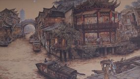 Ancient Chinese village. Picture of Ancient China. China Ancient Architecture In Bamboo Forest. Art. HD Stock Photo