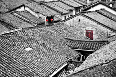 Ancient Chinese village with red lamp and window Royalty Free Stock Images