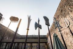 Ancient Chinese weapons. Zhonghua gate, Nanjing, China Royalty Free Stock Images