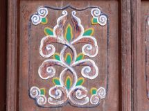 Ancient chinese wood carving of flower, adobe rgb Royalty Free Stock Photography