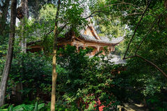 Ancient Chinese wooden building in sunny summer woods Stock Photos