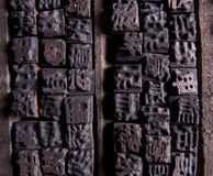 Ancient Chinese wooden characters. Collection of old Chinese wooden typescript letters Stock Image