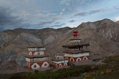 Ancient chortens in Dolpo area, Nepal Royalty Free Stock Photo