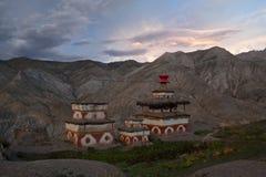 Ancient chortens in Nepal Himalaya Royalty Free Stock Photo