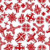 Ancient christian crucifixes red seamless pattern Stock Image