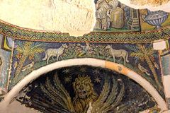 Ancient christian mosaic with symbolic figures Royalty Free Stock Photography