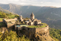 Ancient christian Tatev monastery in Armenia. During sunrise Stock Photography