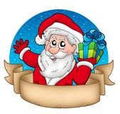 Ancient Christmas banner with Santa Royalty Free Stock Images