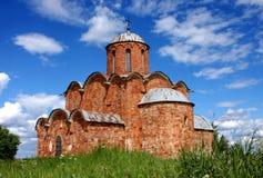 Ancient church. Church of Our Saviour on Kovalevo Hill, Novgorod, Russia. 14 century Stock Photos
