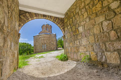 Ancient church, amazing view through tunnel passage, Lesnovo, Macedonia Stock Photography