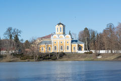 Ancient church at the bank of the river during winter time Royalty Free Stock Photography