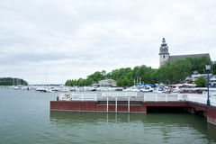 Ancient church behind the harbor in Naantali, Finland royalty free stock photos