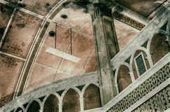 Ancient Church Ceiling with Modern Light Fixture Royalty Free Stock Photos