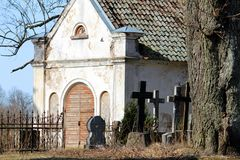 Ancients cemetry in Latvia. Ancient church and cemetery at Latvia stock image