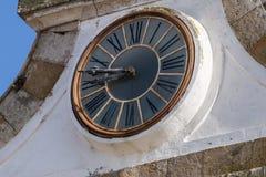 Ancient church clock. Close up view of ancient historical church clock royalty free stock photography
