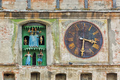 Ancient church clock with figurines. Royalty Free Stock Photos