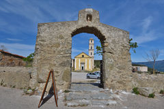 Ancient church in the Corsican village Sant`Antonino Stock Image