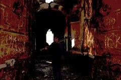 The ancient church forsaken. At the door in the ancient church forsaken Stock Photos