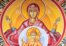 Ancient church icon. Painted in vivid colours royalty free stock photos